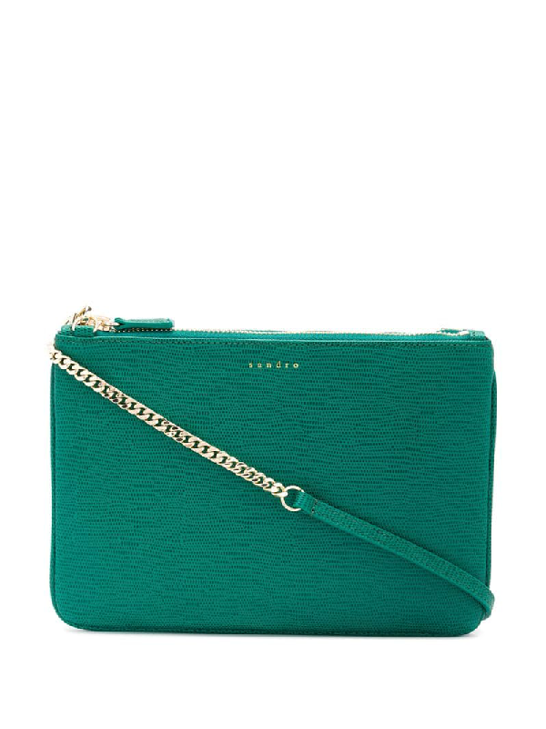 Sandro Addict Pouch Chain In Green
