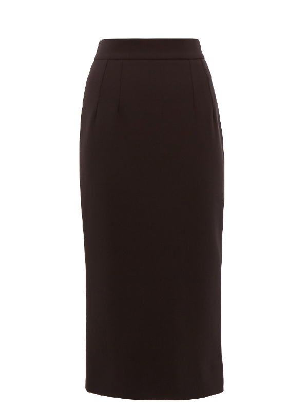 Dolce & Gabbana High-rise Wool-blend Pencil Skirt In Black