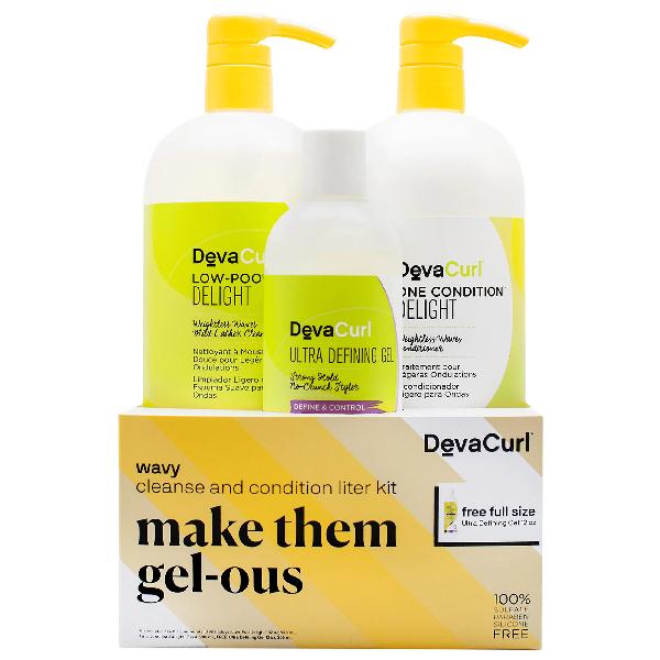 Devacurl Make Them Gel-ous Wavy Cleanse & Condition Liter Kit