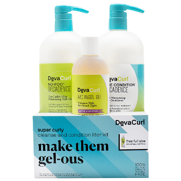 Devacurl Make Them Gel-ous Super Curly Cleanse & Condition Liter Kit