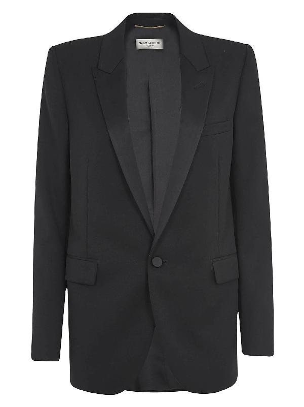 Saint Laurent Single Button Blazer In Black