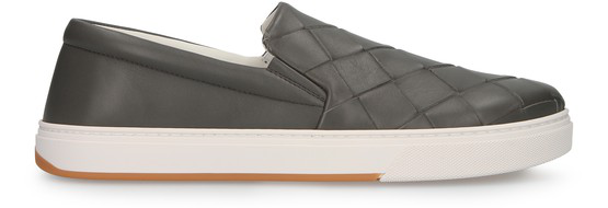Bottega Veneta Dodger Intrecciato-woven Leather Skate Shoes In Grey