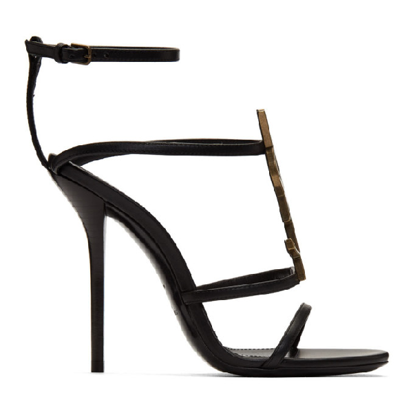 Saint Laurent Cassandra Black Leather Sandals With Ysl Monogram In 1000 Black