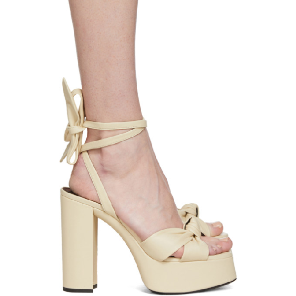 Saint Laurent Bianca Knotted Leather Platform Sandals In 9750 White