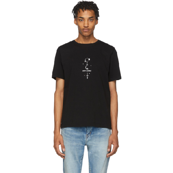 Saint Laurent Ysl Mystique Print Cotton Jersey T-shirt In 1095 Noirna