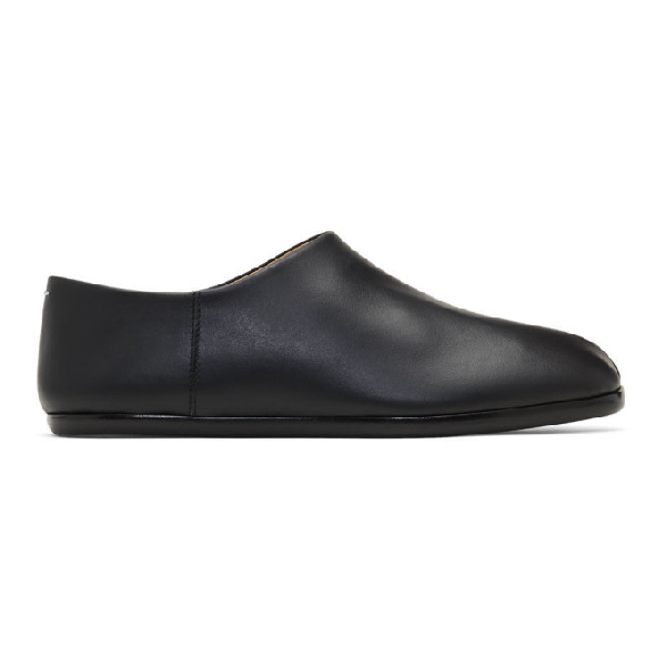 Maison Margiela Split-toe Leather Collapsible-heel Loafers In Black