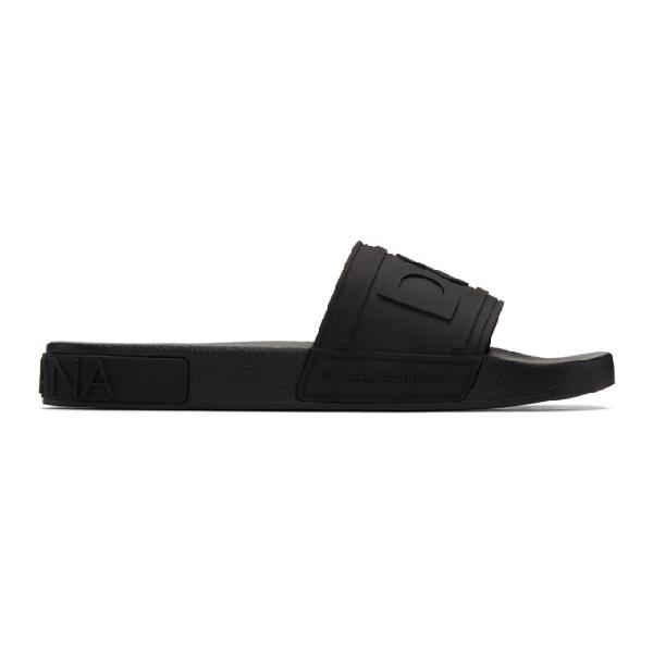 Dolce & Gabbana Rubber Beachwear Sliders With D&g Logo In 8b956 Nero