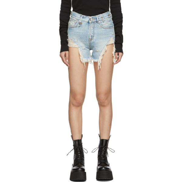 R13 Shredded Slouch Distressed Denim Shorts In Rutland Pai