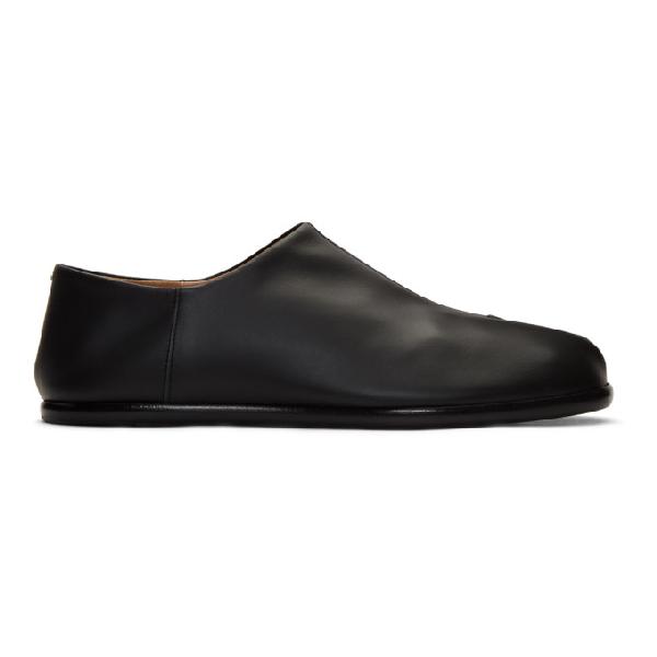 Maison Margiela Tabi Collapsible-heel Split-toe Leather Loafers In 900 Black