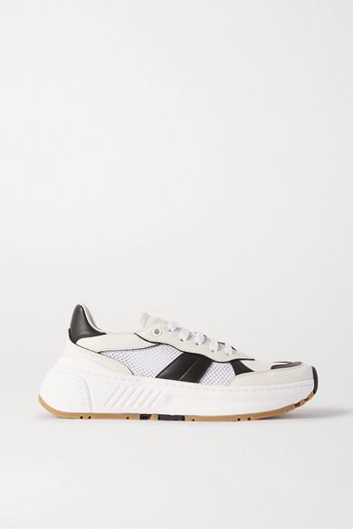 Bottega Veneta Speedster Leather And Mesh Sneakers In White