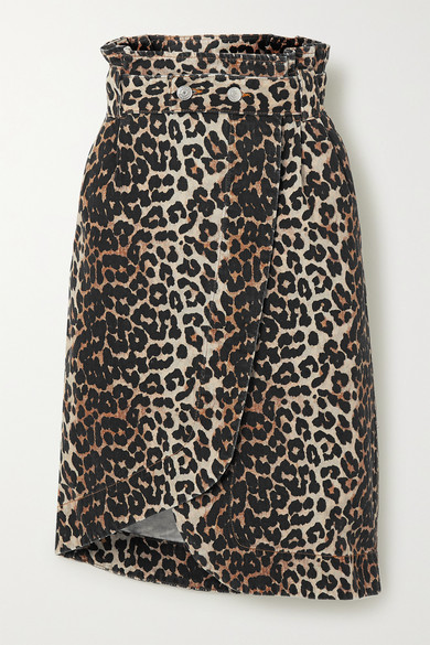 Ganni Leopard Print Asymmetrical Denim Wrap Skirt