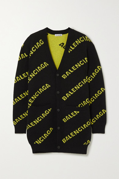 Balenciaga Fluo Logo Intarsia Knit Wool Cardigan In Black