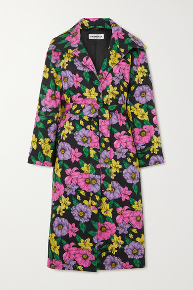 Balenciaga Belted Floral-print Cotton-drill Trench Coat In Black