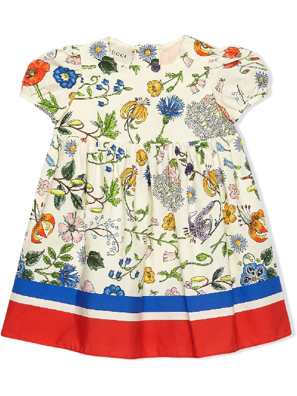 Gucci Babies' Flora Festival Print Puff Sleeve Cotton Dress In White