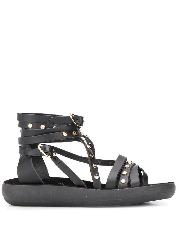 Ancient Greek Sandals Satira Riveted Sandals In Black