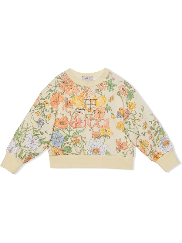 Gucci Kids' Ivory Girl Sweatshirt With Flora Print In Neutrals