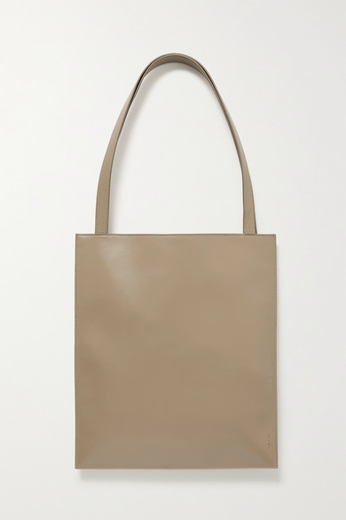 The Row Flat Leather Tote In Sand