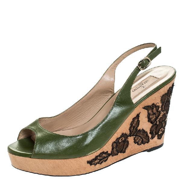 Valentino Garavani Green Leather Lace Embellished Wedge Peep Toe Sandals Size 40