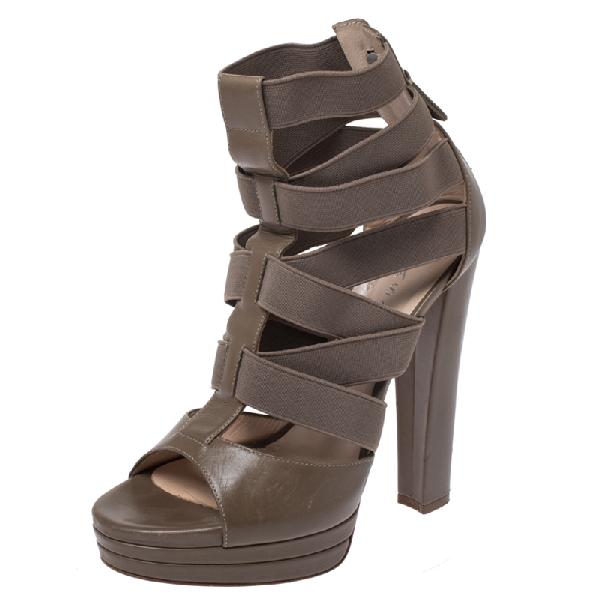 Casadei Grey Leather Gladiator Block Heel Sandals Size 37