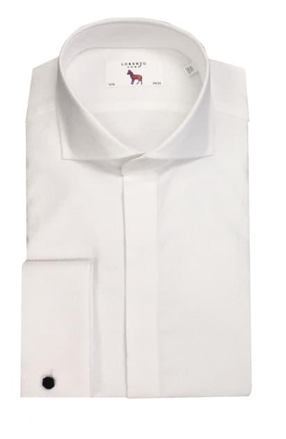 Lorenzo Uomo Trim Fit Tuxedo Shirt In White