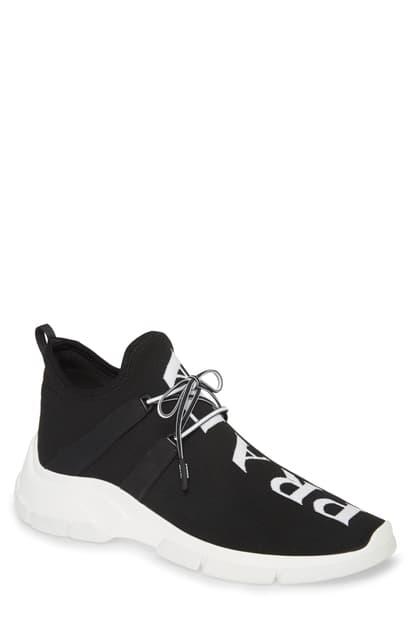 Prada Gestrickte Sneakers Mit Logo In Black