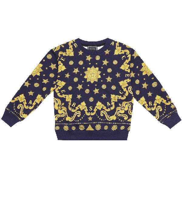 Versace Blue Kids Sweatshirt With Gold Medusa
