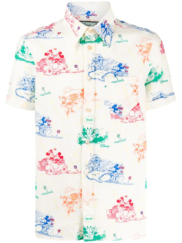 Gucci X Disney Print Cotton Short Sleeve Button-up Shirt In Neutrals