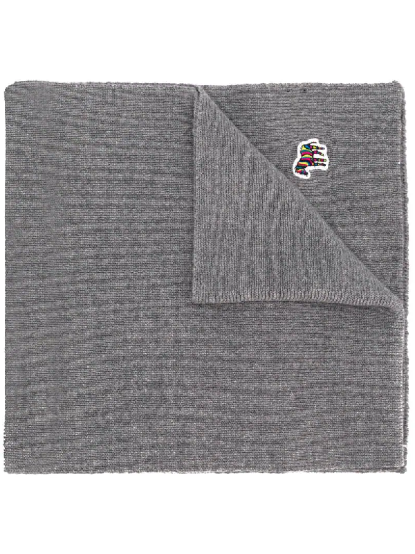 Ps By Paul Smith Embroidered Patch Scarf In Grey