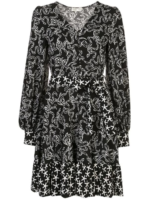 Stine Goya Farrow Belted Printed CloquÉ Mini Dress In Black