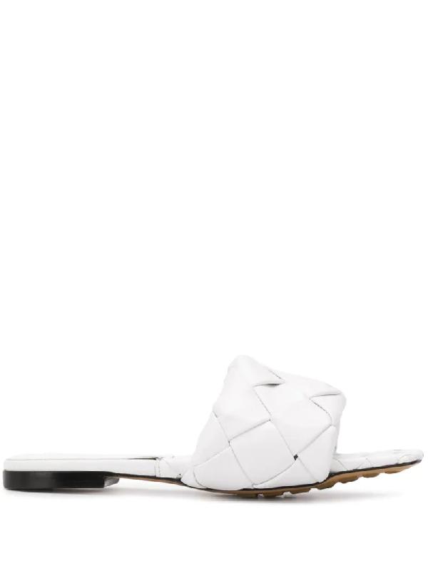 Bottega Veneta Lido Flat Square Toe Sandals Lambskin