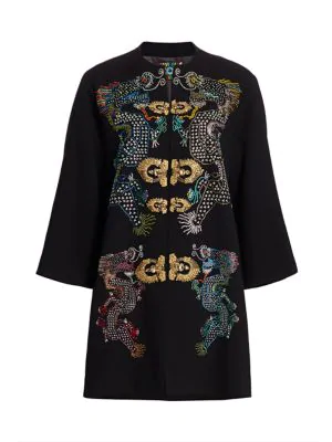 Libertine Magical Ming Embellished Dragon Opera Coat In Black