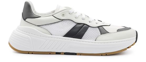 Bottega Veneta 250 Speedster Stripe Leather & Mesh Sneakers In White