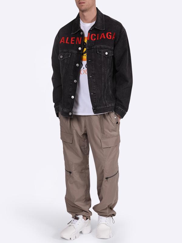 Balenciaga Logo-embroidered Cotton Denim Jacket In Grey