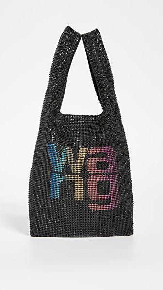 Alexander Wang Wangloc Mini Crystal-embellished Mesh Tote In Black/rainbow