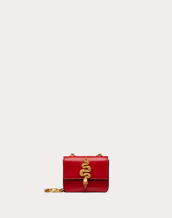 Valentino Garavani Mini Crossbody Bag In Glossy Calfskin With Serpent Accessory In Rouge Pur