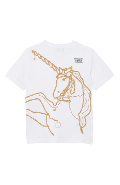 Burberry Kids' Girl's Chain Unicorn Short-sleeve Tee In White