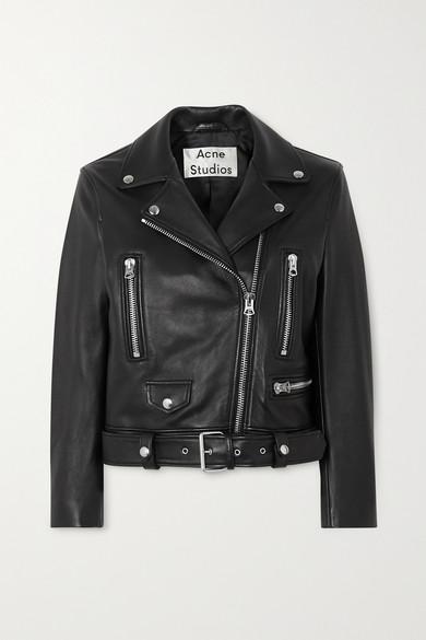 Acne Studios Mock Motorcycle Leather Jacket In Black