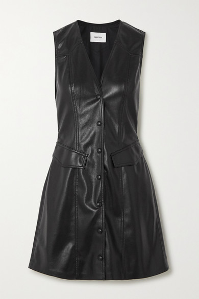 Nanushka Menphi Sleeveless Vegan Leather A-line Shirtdress In Black
