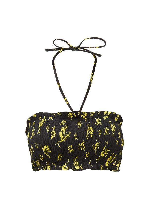 Ganni Recycled Fabric Floral Halter Bikini Top In Multicolour