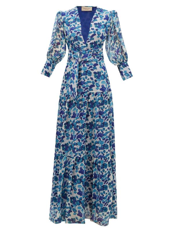 Adriana Degreas Lotus Leaf-print PlissÉ Silk-georgette Dress In Blue Print
