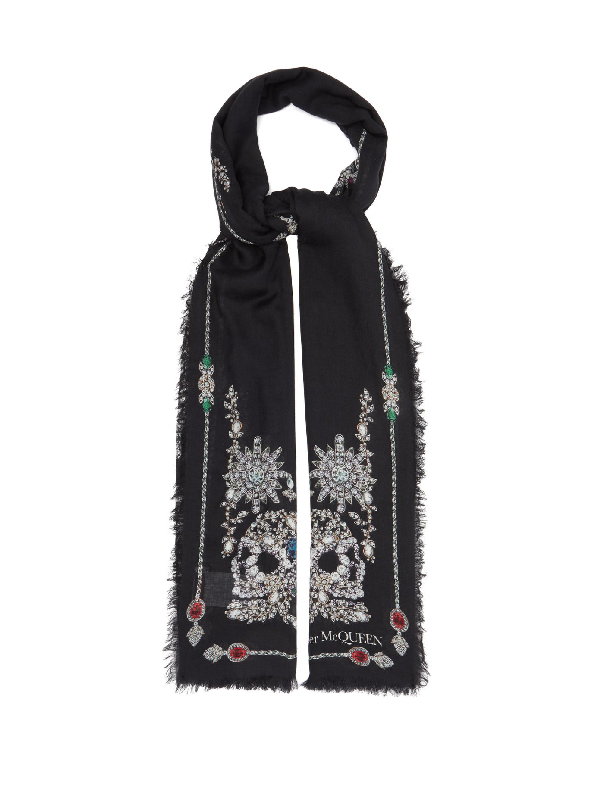 Alexander Mcqueen Treasure Skeleton Embellished Square Silk Scarf In Black