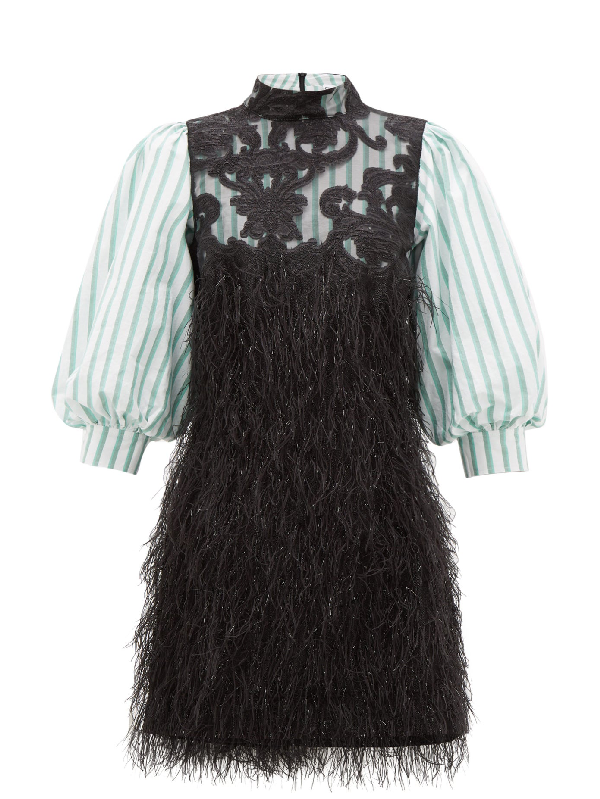 Ganni Exclusive To Mytheresa - Faux Feather And Lace Minidress In Black