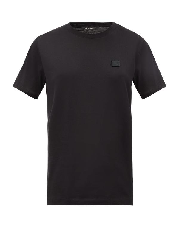 Acne Studios Face Patch Crewneck Cotton T-shirt In Black