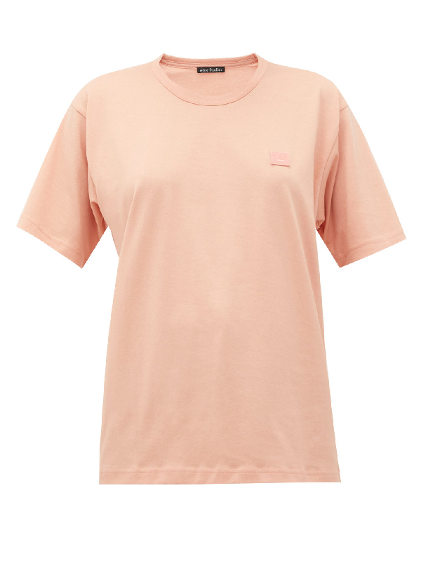 Acne Studios Nash Face Embroidered T-shirt In Pink In Light Pink