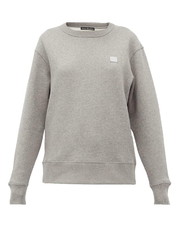 Acne Studios Fairview Logo-appliquéd Mélange Fleece-back Cotton-jersey Sweatshirt In Grey