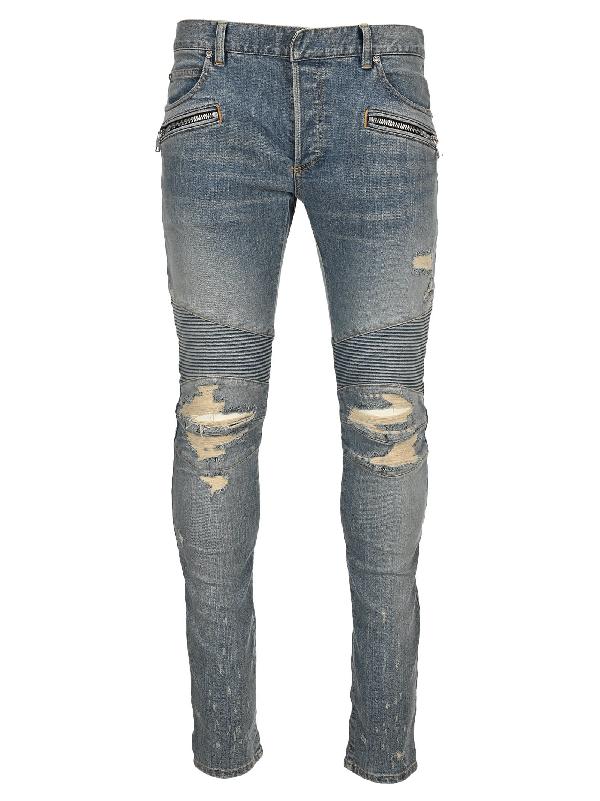 Balmain Biker Ripped Skinny Jeans In Light Blue
