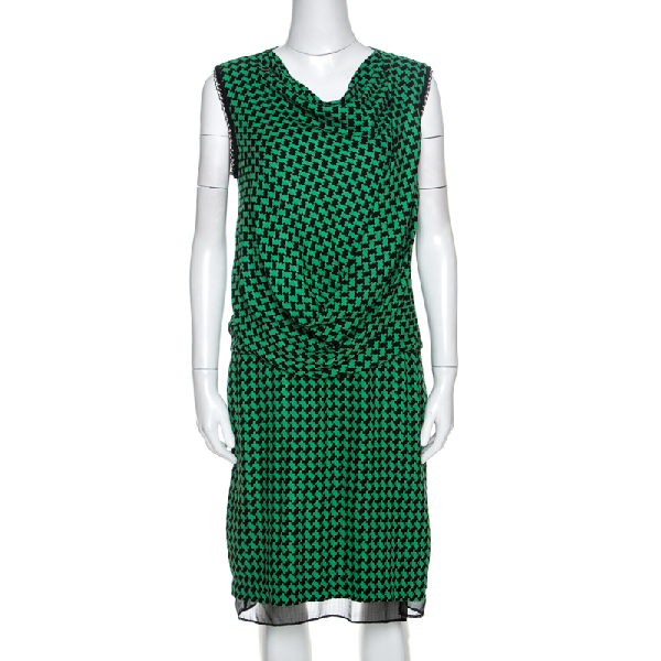 Diane Von Furstenberg Bicolor Patterned And Draped Leala Tweed Dress M In Green