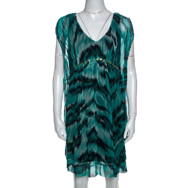 Diane Von Furstenberg Green Printed Silk Embellished Simea Dress M