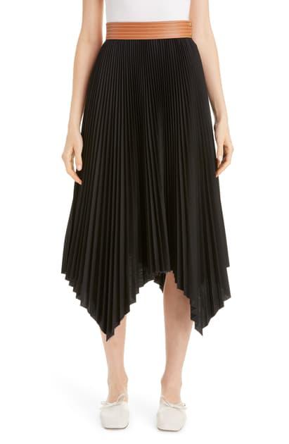 Loewe Leather Band Asymmetrical Pleated Midi Skirt In Black