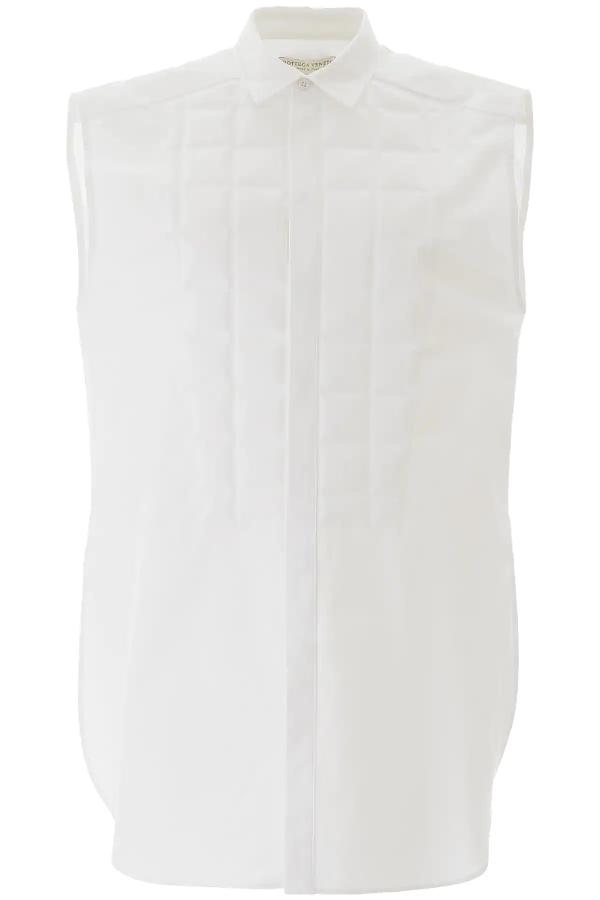 Bottega Veneta Quilted Cotton Poplin Sleeveless Shirt In White